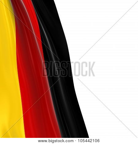 Hanging Flag Of Germany - 3D Render Of The German Flag Draped Over White Background With Copyspace F