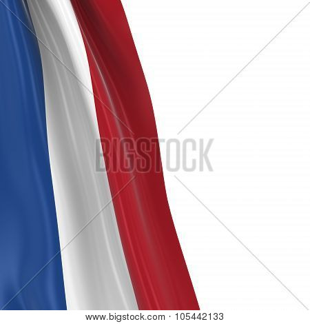 Hanging Flag Of The Netherlands - 3D Render Of The Dutch Flag Draped Over White Background With Copy