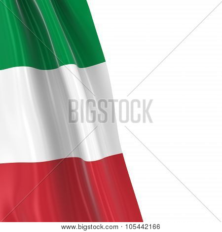 Hanging Flag Of Italy - 3D Render Of The Italian Flag Draped Over White Background With Copyspace Fo