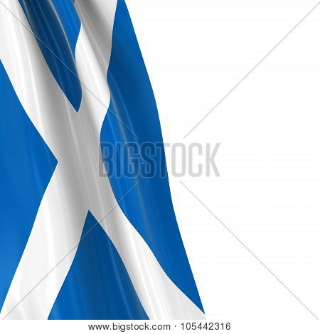 Hanging Flag Of Scotland - 3D Render Of The Scottish Flag Draped Over White Background With Copyspac