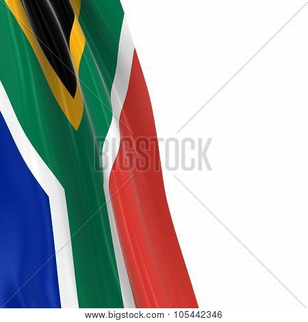 Hanging Flag Of South Africa - 3D Render Of The South African Flag Draped Over White Background With
