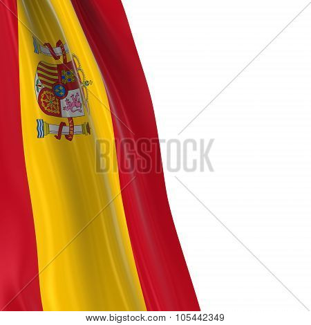 Hanging Flag Of Spain - 3D Render Of The Spanish Flag Draped Over White Background With Copyspace Fo