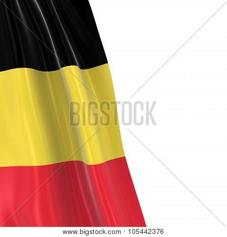 Hanging Flag Of Belgium - 3D Render Of The Belgian Flag Draped Over White Background With Copyspace