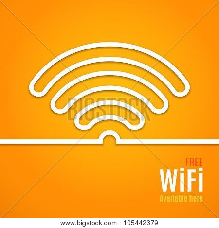WiFi icon on orange background. Vector illustration