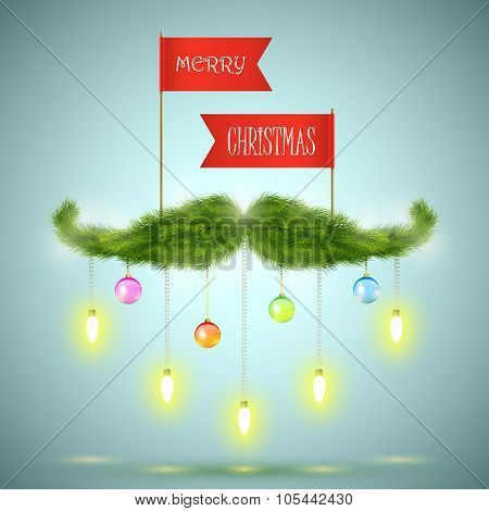 Santas moustache vector illustration.