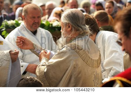 Orel, Russia - September 13, 2015: Orthodox Church Family Day. Russian Orthodox Church Archbishop Ta