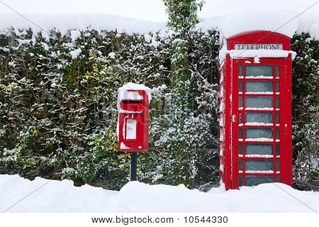 Red Phonebox In The Snow