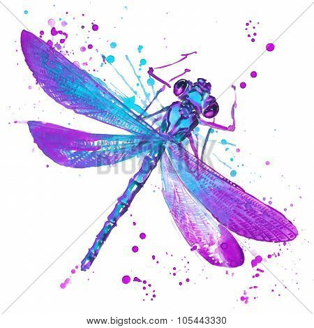 Dragonfly T-shirt Graphics, Dragonfly Illustration With Splash Watercolor Textured Background. Unusu