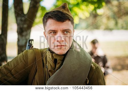 Unidentified re-enactor dressed as Soviet soldier