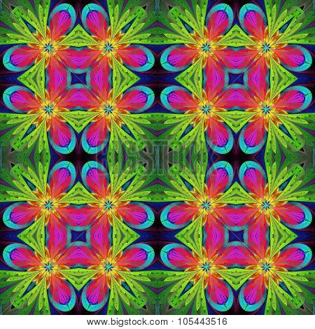 Multicolored Symmetrical Pattern In Stained-glass Window Style On Light. Artwork For Creative Design