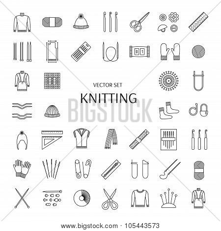 Knitting Line Icons Set. Knitting Supplies And Accessories. Needle, Crochet, Woolen Yarn, Hook,  Sci