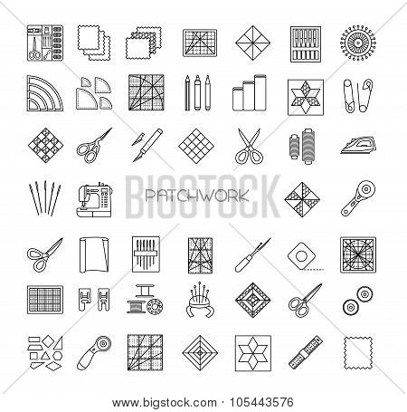 Quilting Line Icons Set. Patchwork Supplies And Accessories. Quilt Fabric Kit, Patch, Needle, Thread