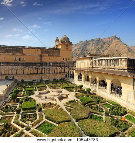 JAIPUR, INDIA - NOVEMBER 18: Garden in Amber Fort