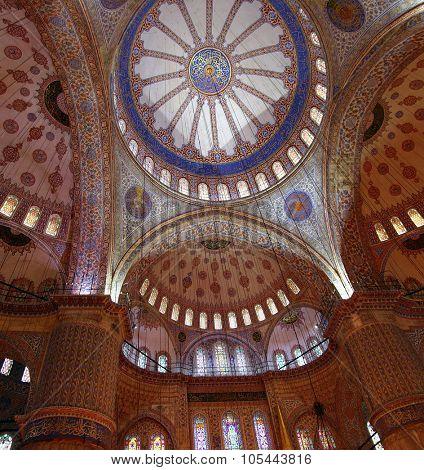 ISTANBUL, TURKEY - NOVEMBER 14, 2012: Sultanahmet mosque interior