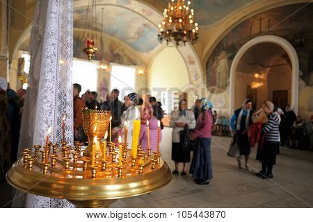 Orel, Russia - September 13, 2015: Orthodox Church Family Day. Divine Service In Russian Orthodox Bo