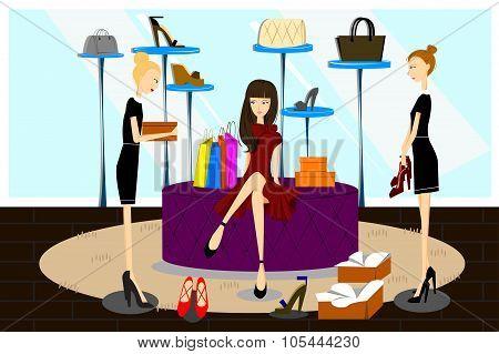 Women Shopping For Shoes