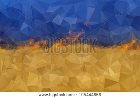 Stylized Ukrainian flag on fire