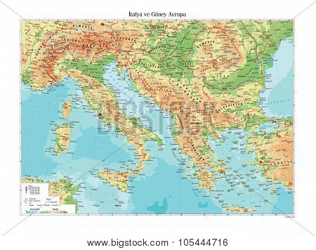 Topographic Map Of Italy and south Europe