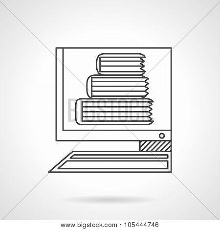 E-library flat line vector icon