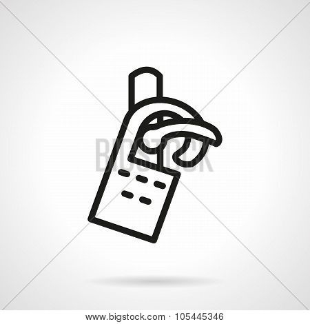 Tag on door black line vector icon