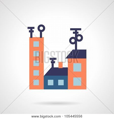Colored houses flat vector icon