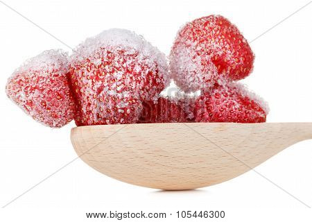 Frozen Strawberry Isolated On White Background.
