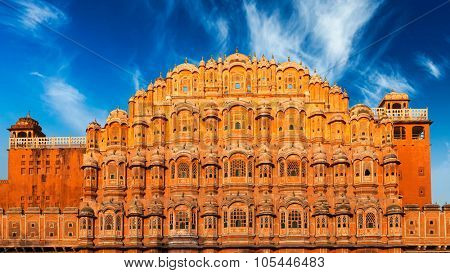 Famous Rajasthan Indian landmark - Hawa Mahal palace (Palace of the Winds), Jaipur, Rajasthan, India