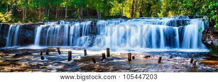 Panorama of Tropical waterfall Phnom Kulen, Cambodia