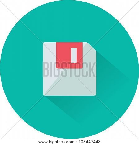 Floppy disk download. Flat modern web button