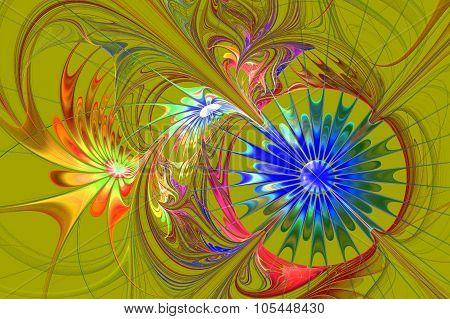 Flower Background. Blue And Darkorange Palette. Fractal Design. Computer Graphics