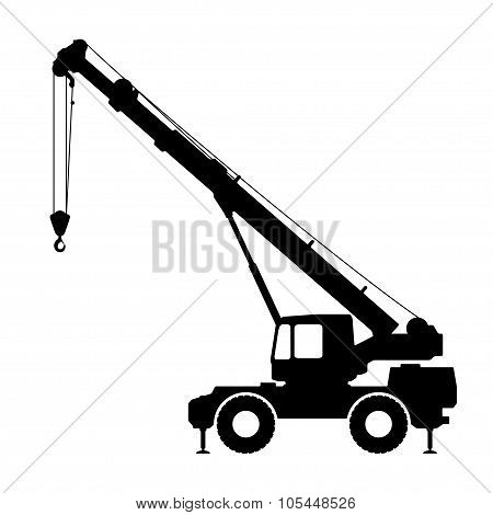 Crane Silhouette on a white background.