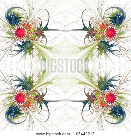 Flower Background In Fractal Design. Green And Red Palette. On White. Computer Generated Graphics.