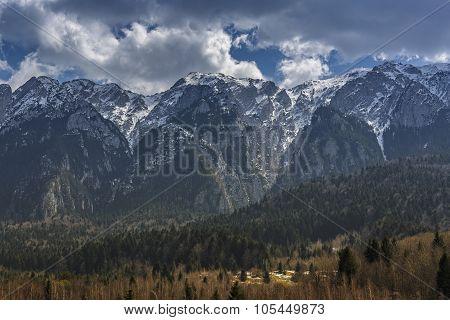 Snowy Bucegi Mountains Range