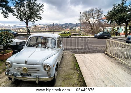 Downtown Street View And Old Car In Potenza
