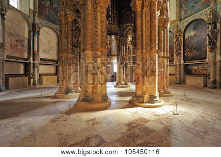 TOMAR, PORTUGAL - SEPTEMBER 29, 2011: The imposing medieval castle of Knights Templar in Portugal. Marble columns support the ceiling in main hall
