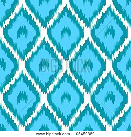 Blbe and white simple geometric ikat asian traditional fabric seamless pattern, vector