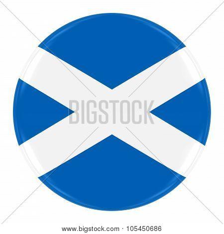 Scottish Flag Badge - Flag Of Scotland Button Isolated On White
