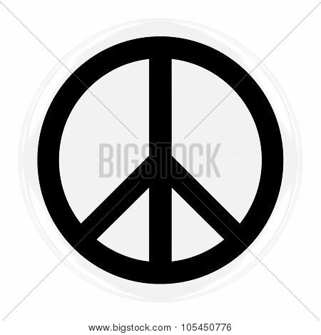 Peace Symbol Badge - Flag Of Peace Button Isolated On White