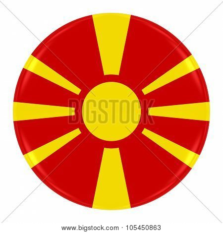 Macedonian Flag Badge - Flag Of Macedonia Button Isolated On White