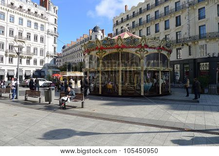Carousel at Place de la République in Lyon, France