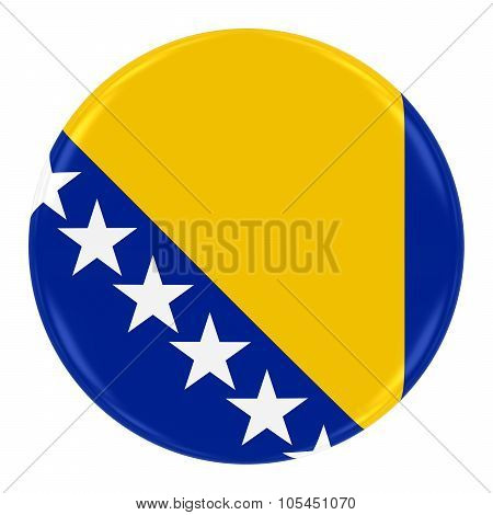 Bosnian And Herzegovinan Flag Badge - Flag Of Bosnia And Herzegovina Button Isolated On White