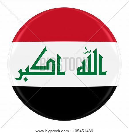 Iraqi Flag Badge - Flag Of Iraq Button Isolated On White