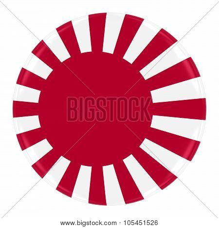 Classic Japanese 'rising Sun' Naval Flag Badge - Flag Of Japan Button Isolated On White