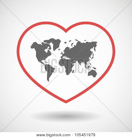 Line Heart Icon With A World Map