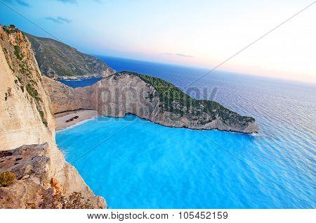 Navagio Beach (Shipwreck beach) on Zakynthos Island at sunset, Greece