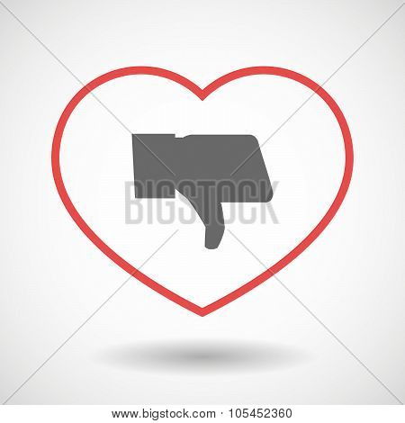 Line Heart Icon With A Thumb Down Hand