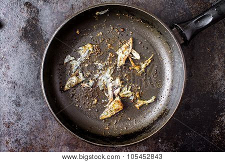 Frying Pan With The Leftovers Fish