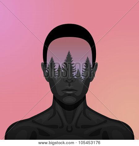 Double Exposure vector beauty Woman