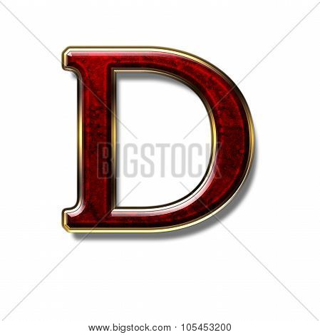 Letter D - Precious Stone in Red