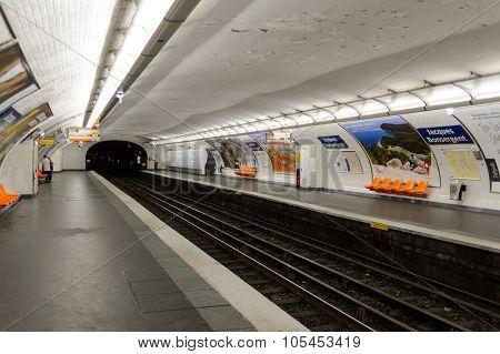 PARIS - AUGUST 10, 2015: interior of Paris Metropolitain station. The Paris Metro or Metropolitain is a rapid transit system in the Paris Metropolitan Area